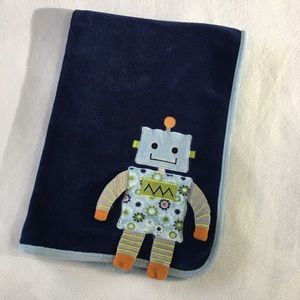 Robot buddy navy fleece baby blanket